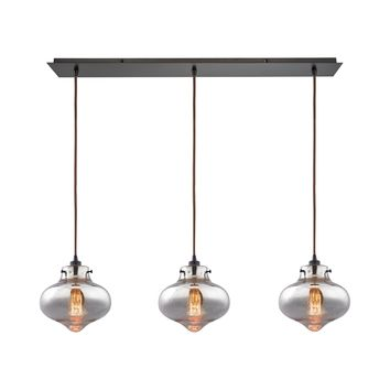 31955/3LP Kelsey 3 Light Pendant In Oil Rubbed Bronze And Mercury Glass - Free Shipping!
