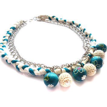 Medium Necklace in Turquoise Fabric Braid - NOTON by Raquel, Etsy