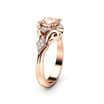 Unique Engagement Ring Morganite Engagement Ring 14K Rose Gold Ring Anniversary Ring