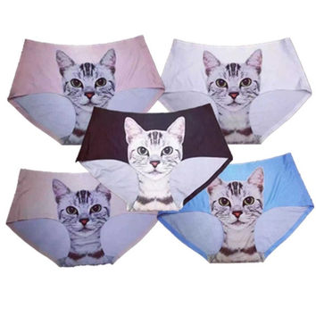 Sexy Lady Underwear Pussycat Panties 2015 British Pop Self-popular Cartoon Oxytropis 3D Cats Briefs No Trace Thin Seamless = 1929701060