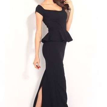 Chic Drop shoulder Black Peplum Maxi Formal Dress