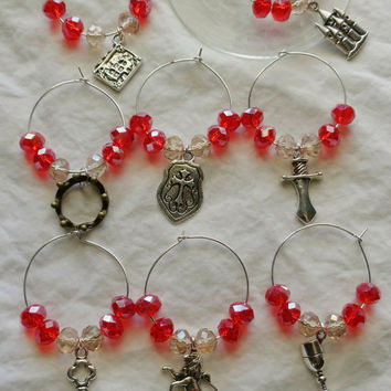 Game of Thrones Inspired Wine Glass Charms Lannister Set 8, Crown Sword Castle Lion Book Shield Key Chalice, Crystal Beads Silver-plate Wire