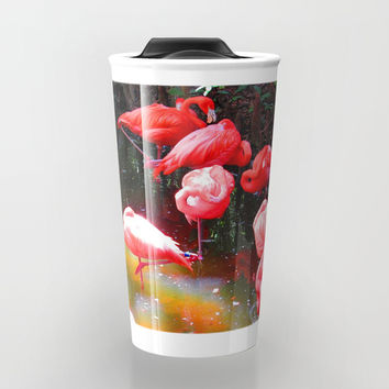 HOT PINK FLAMINGOS Travel Mug by Digital Effects