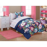 Mainstays Kids' 5-Piece Coordinated Bedding Set, Navy Floral - Walmart.com