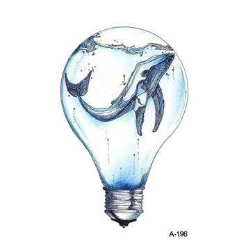 Wyuen New Design Creative Bulb Whale Animal Fake Tattoo Waterproof Temporary Arm Tatoo Stickers Body Art Ocean Tattoos A-196
