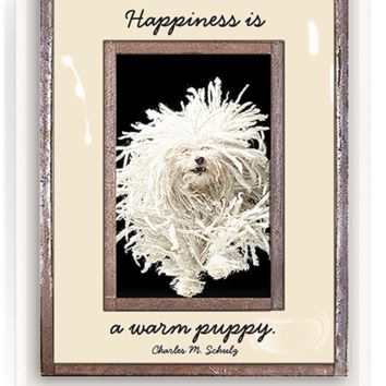 Happiness Is A Warm Puppy Copper & Glass Photo Frame