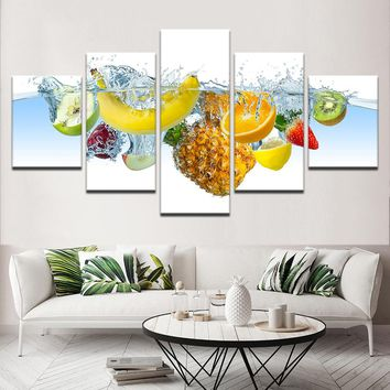 Wall Art Modular HD Printed Painting Fruits Poster Picture 5 Pieces Pineapple Canvas Home Decor Kitchen Restaurant Frame Artwork