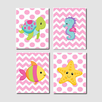 Girl Sea Animals WALL ART, Girl Nursery Decor, Girl Bathroom Decor, Chevron Turtle Seahorse Starfish Fish Set of 4 Prints Or Canvas Wall Art