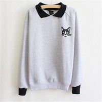 Hot Women Lapel Neck Pullover Sweatshirt Cute Cat Printed Loose Hoodies Student Style Pullover