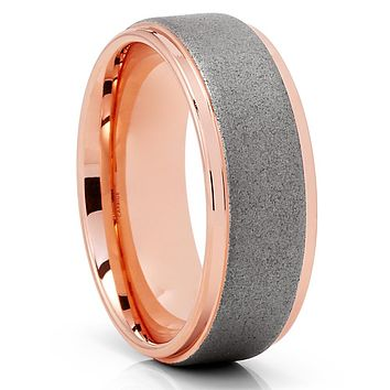 Rowe Gold Tungsten Wedding Band - 8mm - Gray Tungsten Ring - Brush Ring