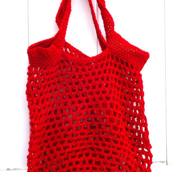 Red Reusable Grocery Bag - Market Tote - Farmer's Market Tote - Beach Bag - Grocery Tote Ready to Ship