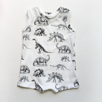 Dino organic cotton knit shirt romper
