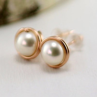 Pearl Stud Earrings, 14k Rose Gold Filled Cream White Freshwater Pearl Earrings Pink Gold June Birthstone Wire Wrapped