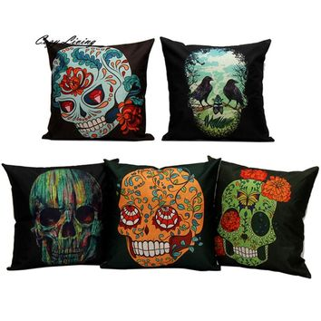Pillow Cases 45*45CM Flower Skull Pattern Pillow Cases Linen Pillow Covers Fancy Printed Square Pillowcases