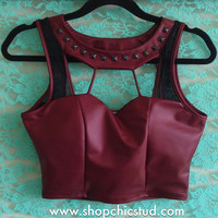 Studded Crop Top Tank - Burgundy Faux Leather - Black Silver or Gold Studs