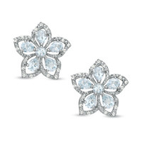 Aquamarine and White Topaz Flower Earrings in Sterling Silver - View All Earrings - Zales