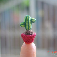 0.8 inch crochet cactus - tiny dollhouse miniature plant