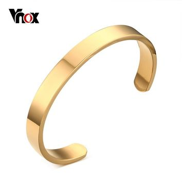 """Vnox Mens Cuff Bangle & Bracelet Gold-color  High Quality Stainless Steel Simple Bracelets Pulseiras Jewelry 2.5"""" Dia"""
