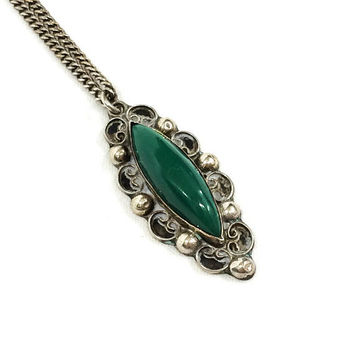 Sterling & Green Onyx Pendant Necklace, Mexican Filigree Beaded Necklace, Long Thin Pendant, Vintage Jewelry