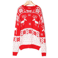 Christmas snowflake fawn turtleneck collar sweater