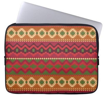 Abstract Girly Aztec Chevron Tribal Pattern Laptop Sleeve
