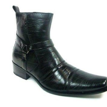 Mens Delli Aldo Black Western Style Faux Leather Riding Boots