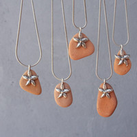 Beach Pebble Necklace - Sea Souvenir with Starfish