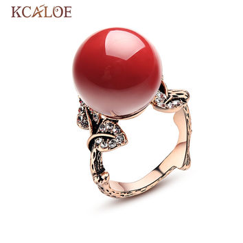 KCALOE Natural Stone Rings Red Coral Rose Gold Plated Bijoux Femme Vintage Carved Crystal Rhinestone Wedding Ring Jewelry Anel