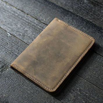 Personalized Leather Passport Wallet, Distressed Leather Travel Wallet, Passport Holder, Leather Passport Cover Sand Brown FREE Shipping