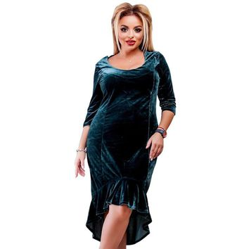Plus Sized Gorgeous Velvet Evening Dress