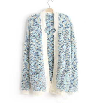 Winter Pastoral Style Floral Sea Scarf Sweater Jacket [9176521796]