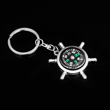 Compass Keychain Creative Multifunction Alloy Rudder Compass Keychain Keyring For Men