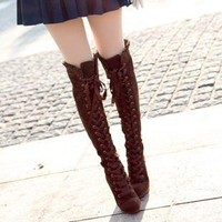 Sand Japanese -style boots, knee boots Gaotong