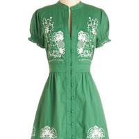 ModCloth Festival Mid-length Short Sleeves A-line Needlework it Out Dress in Green