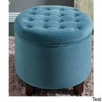 Round Tufted Storage Ottoman, Large, Teal