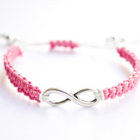 Infinity Hemp Bracelet Pink and White Macrame Friendship