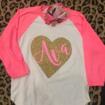 Personalized Heart 3/4 length with Pink Name or Initials