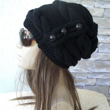 Womens Hat -  Knit hat -  Cable knit hat  - Slouchy Hat with Button -   Black wool   Hat - Fall  Winter fashion Accessories - Winter Hat