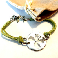4 Leaf Clover Bracelet, Lucky Clover Bracelet, St. Patrick's Day Jewelry, Luck of the Irish Bracelet, Green Suede Bracelet