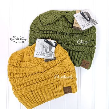 CC Messy Bun Beanies - Olive or Mustard