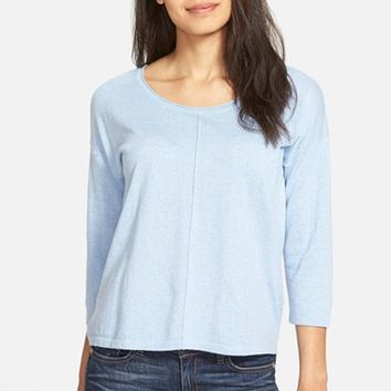 Women's Eileen Fisher Scoop Neck Organic Cotton & Cashmere Knit Top
