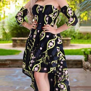 New Black Floral Print Pleate Off Shoulder High-Low Homecoming Party Maxi Dress