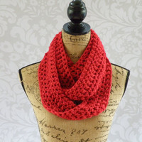 Ready To Ship Infinity Scarf Red Women's Accessory Infinity  Long Skinny Scarf