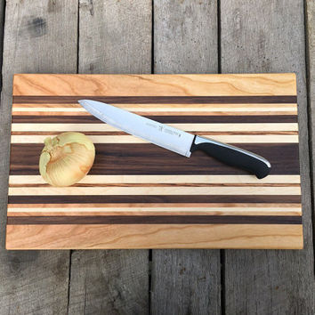 Large Wood Striped Cutting Board