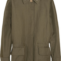Sonia Rykiel - Crystal-embellished linen and cotton-blend twill parka