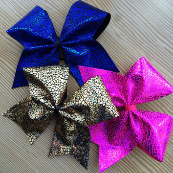 Gold Holographic Avatar Snake Print Cheer Bow!