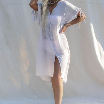 Obsession Light Taupe Button Swim Cover Up