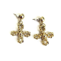 Twisted Rope Four Petal Flower Dangle Earrings Vintage