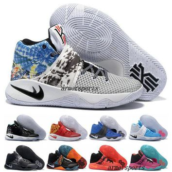 Beauty Ticks New 2017 Kyrie Irving Shoes Mens Basketball Shoes Kyrie 2 Ii Bright Crimson Tie Dye Bhm Basket Ball Olympic Men Shoes Sneakers Beauty Ticks For Cheap