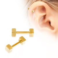 Gold Plated Cubed Cartilage Earring